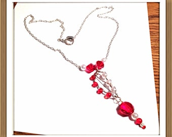 Handmade MWL red beads and white pearl necklace. 0283