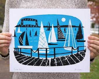 Sailboat Races | 11x14 Silk Screen Print