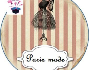 1 cabochon clear 18 mm Paris fashion theme