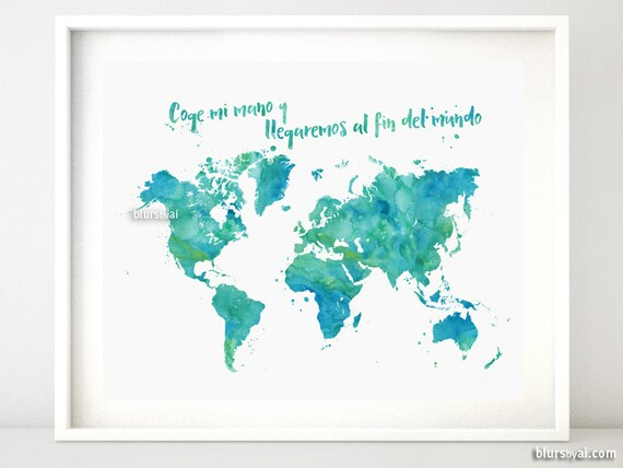 Printable world map watercolor world map shades of teal and gumiabroncs Image collections