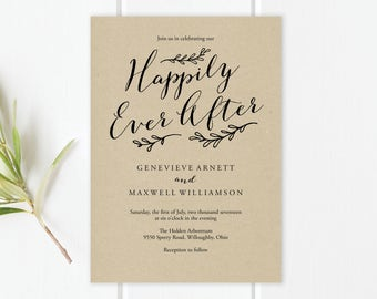 Happily Ever After Wedding Invitation Template | Happily Ever After PDF Template | Happily Ever After Editable Template | Instant Download