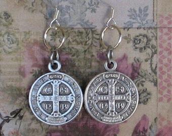 Saint Benedict Earrings, St. Benedict earrings, Holy Medal Earrings, Catholic Jewelry, Spiritual Jewelry, Religious Jewelry, Earrings