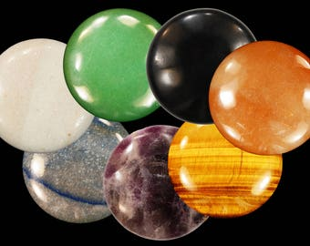 Chakra Crystal Massage Set 2 1/2 Inch 7 Pieces - Polished Rock Minerals Chakra Healing Crystals and Stones Natural Specimen Reiki