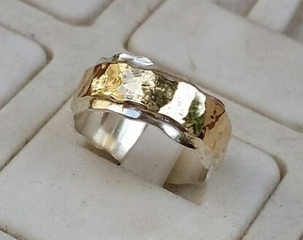 Silver And Gold Wedding Ring,Handmade Wedding Band ,Hammered Wedding Ring ,Bridal Unique Ring ,14K Gold Statement Ring, Summer Sale
