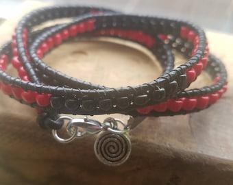 Boho Brat triple wrap black and red colorblock beaded leather bracelet