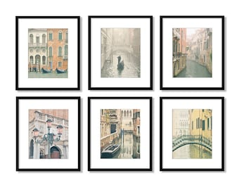 SALE, Venice, Set of 6 Prints, Venice Italy, Venice Photography, Canals, Gondolas, Travel Decor, Europe, Fine Art Prints, Gallery Wall