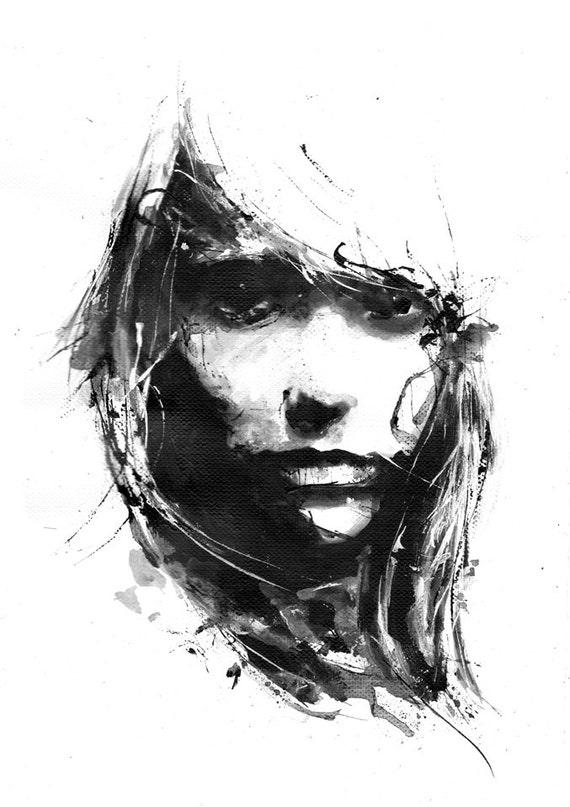 Negative space black and white art girl face minimalism for Minimal art kunst