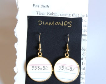 Dewey Decimal System EARRINGS, diamonds, 553.82,  call number, library, gift