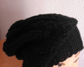 Hand knit hat Oversized Chunky Wool  Hat   black, hat slouchy hat   black, cable hat Superwash Wool