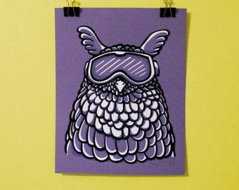 Ski Goggles Owl Screen Print