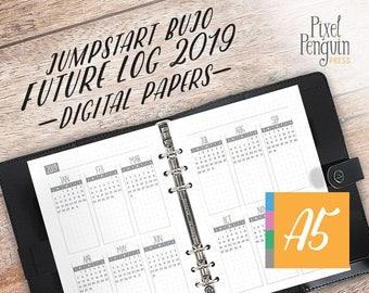 Bullet Journal Starter Kit, Bullet Journal Template Printable, Future Log, Bullet Journal Printable A5, Planner Calendar Inserts, A5 Agenda