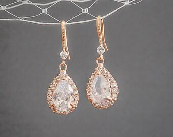 30% OFF, Rose Gold Bridal Earrings, Wedding Jewelry, Crystal Wedding Earrings, Bridal Wedding Jewelry, Teardrop Dangle Earrings, CELENA