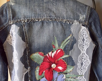 Flowers and lace denim jacket