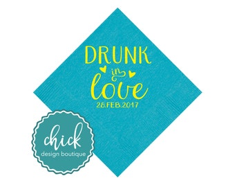 Drunk in Love Beverage Napkins Wedding Decor Fun Wedding Party Gifts Wedding Anniversary Party Gifts Custom Beverage 2D380a