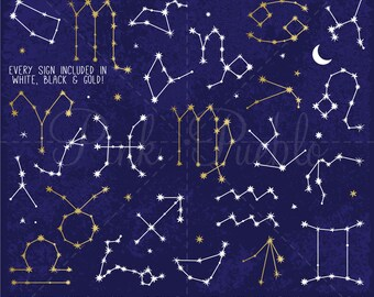 Zodiac Sign Constellations Clipart, Zodiac Clipart, Zodiac Clip Art, Constellation Clipart Clip Art - Commercial and Personal Use