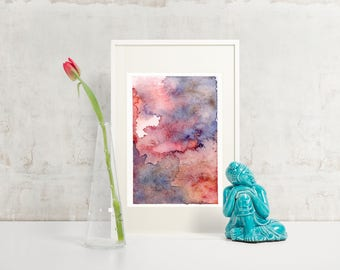 Pink Blue Watercolour Print, Abstract Art, Abstract Print, Wall Decor, Modern Art, Minimalist Art, Contemporary Print, Gallery Wall, Nursery