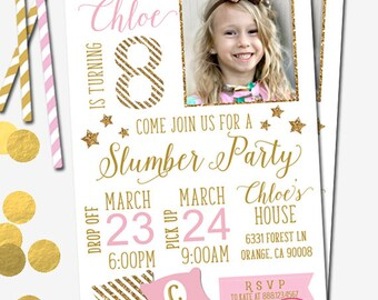 Slumber Party Invitation, Sleepover Invitation, Pink and Gold, Gold Glitter, Photo Invitation, Girl's Party Invitation, Sleep Over, Digital