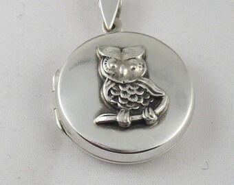 Sterling Silver Owl Locket,Holiday Gift For Her, Mothers Day Gift, Gift For Her, Birthday Gift