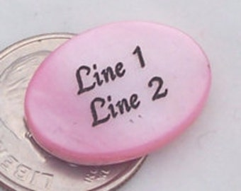 18x13mm - Pink Mother-of-pearl Shell Beads - PERSONALIZED - Custom Engraved