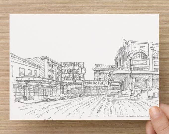 Ink Sketch of Pike Place Farmers Market in Seatttle, Washington - Art, Drawing, Architecture, Fish Market, Pen and Ink, 5x7, 8x10, Print