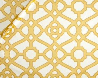 Two 96 x 50 Custom Lined Curtain Panels - Kaufmann Fretwork Gold Yellow
