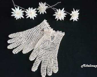 Bridal Crochet Gloves, Ivory