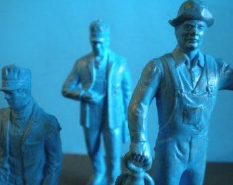 Vintage 1950's Plastic Toy Train Figures - Set Of Three