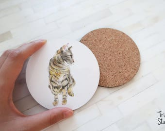 Cat Coaster - Cute Grey Tabby Kitty Simple Drinks Mat - Durable Coaster Set - Cat Lovers Coasters