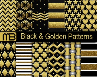Black Golden patterns scrapbook digital paper pack - Clip Art- Instant download - 12x12 inches papers - for home printing - DIY
