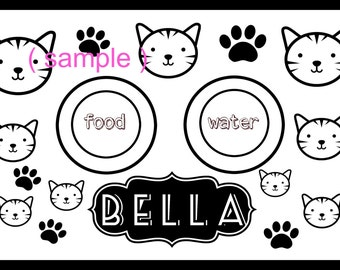 CAT placemat pet laminated personalized floor food mat wipe clean floor protection food mat