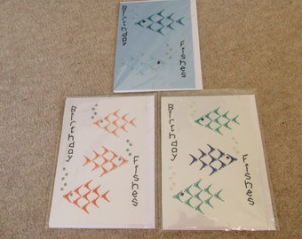 Greetings Card *Made in UK* Blank Occasions Birthday *Hand Stitched Fish Design*