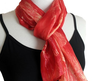 Red Silk Scarf - Handpainted Silk Scarves - Long Red Scarf