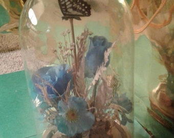 Glass Dome Cloche Bell Jar Display case with flower & butterfly multi Wood Base footed Custom made