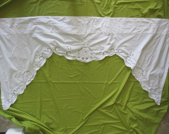 """Vintage cut out lace XL VALANCE-  78"""" curtain, white, cotton, floral, arch"""