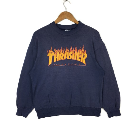 Streetwear Sweatshirt Hiphop Size Rare Big Dark Crewneck Blue THRASHER Spellout Medium Colour Vintage Swag Skateboard Logo MAGAZINE 90s vxqSwU6