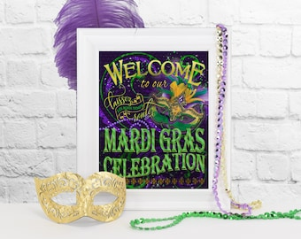 Mardi Gras Welcome Sign, DIY Mardi Gras Party Decoration, New Orleans Party, Masquerade Party, Carnival Party, Printable Mardi Gras Sign