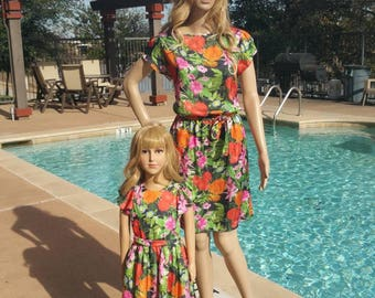 29 - Mother daughter dresses / Mommy and Me Dresses | Matching Mother Daughter Dresses/ Mother Daughter Matching / black red flowers