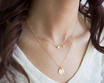 Zodiac Necklace, Zodiac Sign Necklace, Set of 2 Layering Necklaces, Personalized Gold Disc Necklace, Gold Arrow Necklace, Gifts For Her