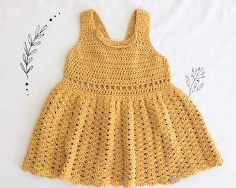Yellow Primrose Dress, Crochet Baby Dress, Baby Girl Dress, Toddler Dress, Sundress For Girls, Tank Dress, Dress For Girls, Dress With Lace