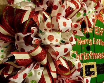 Christmas Elf Polka Dot & Stripe Ribbon Deco Mesh Wreath Door Hanger