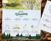 Rustic Watercolor Invitation: Mountains and trees quad fold