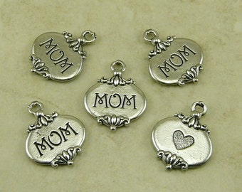 5 Mom Heart Mothers Day Charms > Love Ornate Maternal Grandmother Grandma - Raw American Made Lead Free Silver Pewter I ship internationally