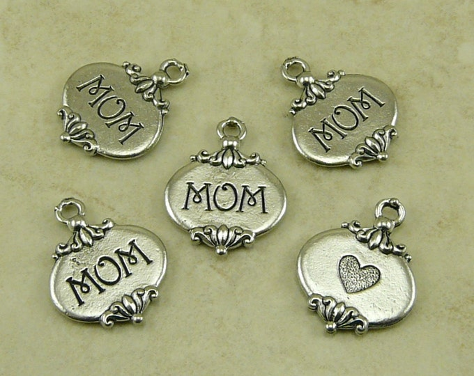 Featured listing image: 5 Mom Heart Mothers Day Charms > Love Ornate Maternal Grandmother Grandma - Raw American Made Lead Free Silver Pewter I ship internationally