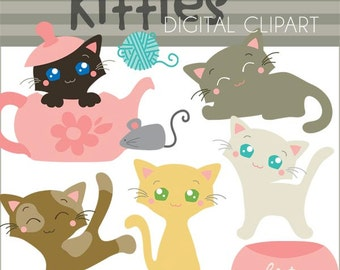 Kitty Clipart  Cat Clipart -Personal and Limited Commercial Use- Cute Kittens Cat Clip Art