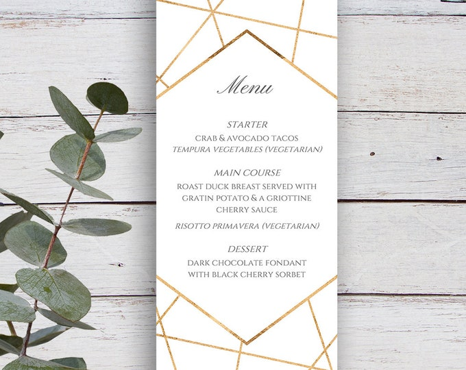 Featured listing image: Facets Printable Menu Template, White with Gold Geometrics