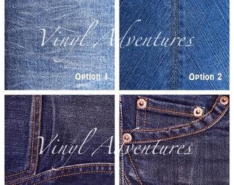 Denim Pattern Vinyl, Blue Jeans, Blue, Chambray, Patterned, Printed, Vinyl, Permanent Adhesive, 12x12, Craft Vinyl Sheet, Oracal 651, Decal