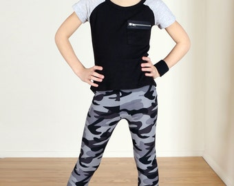 Girls/Kids Black and Gray Camo Printed Leggings for Riot Grrrls, Punk and Goth Kids