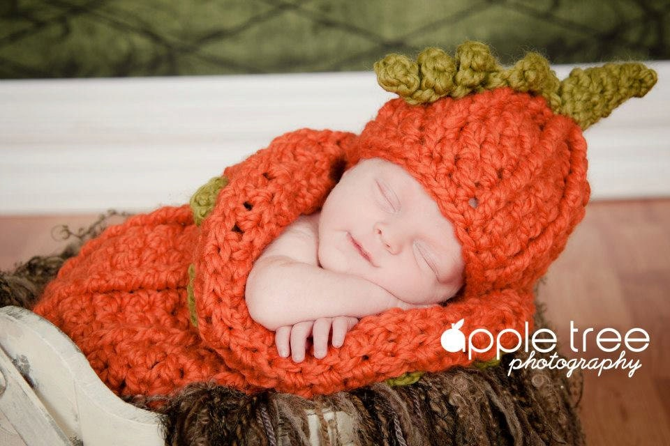 Crochet Pattern For Halloween Chunky Pumpkin Beanie Hat And Baby