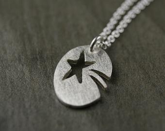 P.E.O. peo shooting star charm sterling silver hand pierced