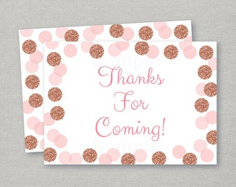 Glitter Party Favor Tags / Glitter Thank You Tags / Glitter Baby Shower / Confetti / Rose Gold / Blush Pink / INSTANT DOWNLOAD A147